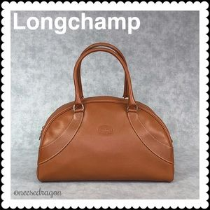 Longchamp Leather Bowler Satchel Small Tote